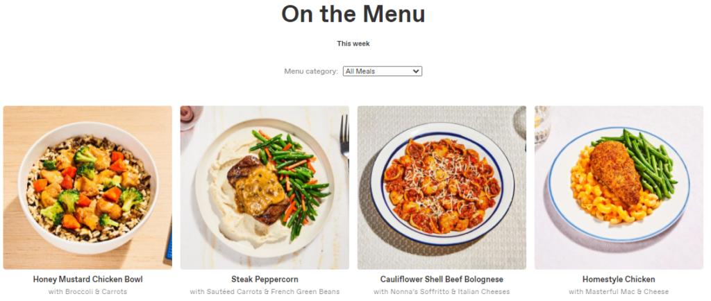 Freshly Meal Kit Review Menu